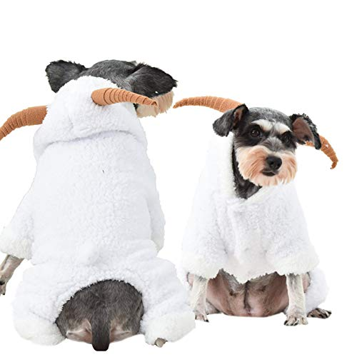 Yu-Xiang Dog Stereo Little Goat Costume Pet Four-Legged Clothes Fall and Winter Onesies Farm Style for Halloween Christmas and Everyday Wear (M)