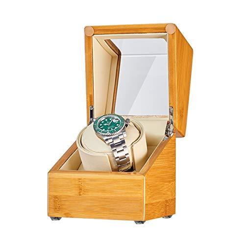 Oksmsa Soltero Madera 1+0 Automático Cajas Giratorias para Relojes, Motor Silencioso Suave Watch Pillow, 5 Modos, Caja De Almacenamiento De Reloj, Bateria Cargada