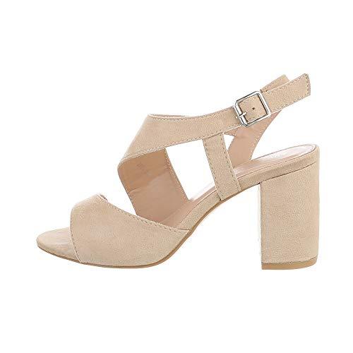 Ital-Design Damenschuhe Sandalen & Sandaletten High Heel Sandaletten, 2800-, Kunstleder, Beige, Gr. 38