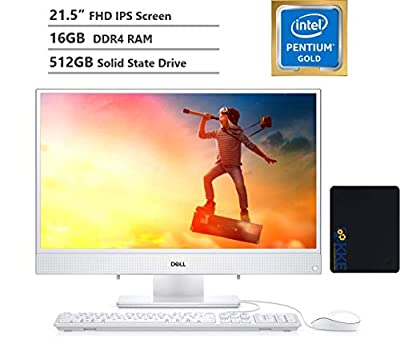 "2020 Dell Inspiron 22 All-in-One Desktop Computer 21.5"" FHD IPS Display,Intel Pentium Gold Processor 5405U, 16GB DDR4 RAM, 512GB SSD, HDMI, Wireless-AC, Bluetooth, KKE Mousepad Bundle, Win10"