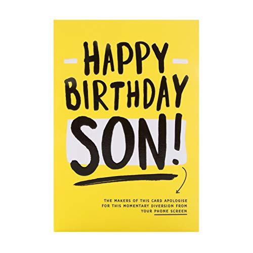 Verjaardagskaart voor zoon van keurmerk - Hedendaagse Humor Design
