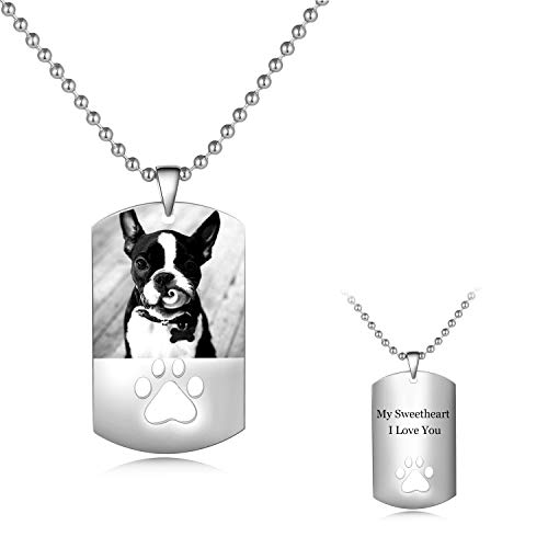 Personalized Full Color Photo Engraved Stainless Steel Necklace Custom Dog Tag Picture Image with Message Name Text Pendant (Monochrome Paw Print Pendant)