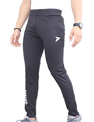 Fitinc Lycra Black Track Pants with Two Side Zipper Pockets & Logo - Stretchable & Absorbent Black Lower for Men- Stylish & Comfortable Slim Fit Sports Joggers for Workout & Casual Wear