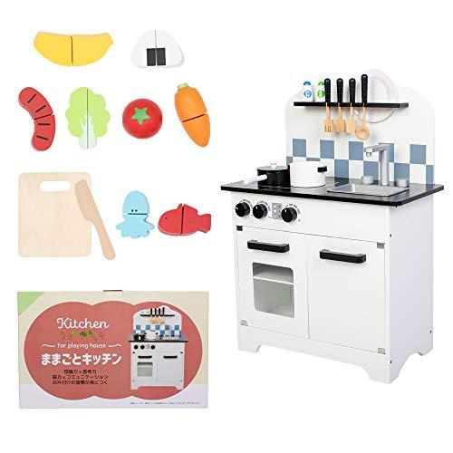 [Towith] 豪華な20点おもちゃ付き おままごと キッチン 木製 セット 知育 玩具 組み立て式 調理器具 食品衛生法検査済 (ホワイトブラック)