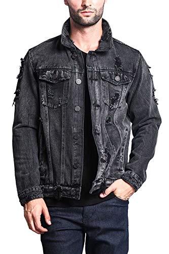 Victorious Men's Casual Distressed Denim Jean Jacket DK100 - Black - 2X-Large - II7C
