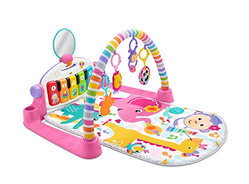 Fisher-Price - Gimnasio Piano Pataditas, Manta de Juego en inglés para bebé recién Nacido, Color Rosa (Mattel FWT25)
