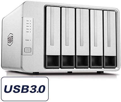 TERRAMASTER D5-300C USB3.0 (5Gbps) Typ-C 5 Bay RAID Gehäuse RAID0/1+Single Modus Externe RAID Festplattenhäuse (Up to 60TB, 2 Sets of RAIDs, Diskless)