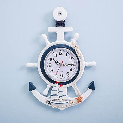CHENGL Reloj de Pared para Jardín ai Aire Libre,Barco de Madera de Estilo Mediterráneo,Ancla Náutica,Barco,Playa,Mar,Tema,Gran Reloj para Exteriores,Decoración Náutica