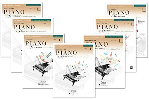 Faber Accelerated Piano Adventures For The Older Beginner Books Set (7 Books) - Lesson 1, Theory 1, Performance 1, Technique & Artistry 1, Popular Repertoire 1, Sightreading 1, Christmas 1