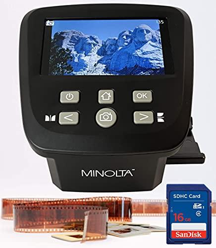 "MINOLTA Film & Slide Scanner, Large 5"" Screen, Convert Color & B&W 35mm, 126, 110 Negative & Slides, Super 8 Films to High Res 22MP JPEG Digital Photos, 16GB SD Card, Worldwide AC Adapter (Black)"