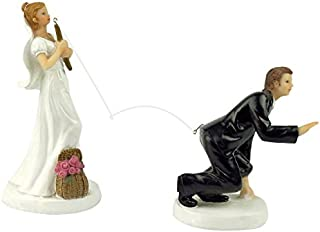 yepmax Love Wedding Cake Toppers Funny Vintage figurines couple 3 X 3 X 6 Inch (Fishing Bride)