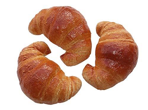 ERRO 3er Set Croissants Hohlattrappen aus Kunststoff - 15487, Konditorei Nachbildung als Requsite, Lebensmittelattrappen zur Deko, Fooddummy