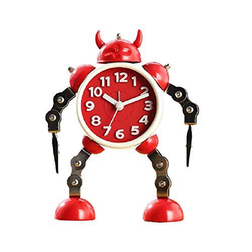 Robot Despertador Reloj Dibujos Animados Estudiante NiñO Personalidad Metal Moda Cuarto Despertador Creativo Acero Inoxidable Durable Brazo de Clip Creativo,Red