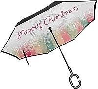 新年の折りたたみ式逆傘カラフルな縦縞とメリークリスマスの引用冬のシーズンのテーマスノーフレーク逆さまの雨逆傘C字型ハンドル付き