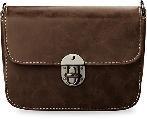 Kleine Elegante Schultertasche Damentasche Clutch-Tasche steife Form (dunkel braun)