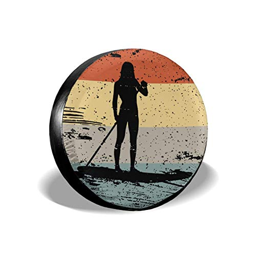 Hokdny Cubierta DE LA Rueda Tabla de Paddle Surf Retro Romantic Wheel Cover with PVC Leather Waterproof Dust-Proof Fit