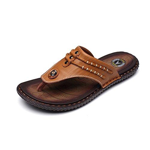 gracosy Sandalias Cuero Deportivas para Hombre Chanclas Verano Exterior con Punta Abierta Sandalias de Playa Y Piscina Zapatos Impermeables Playa Marrón Negro Azul 2019