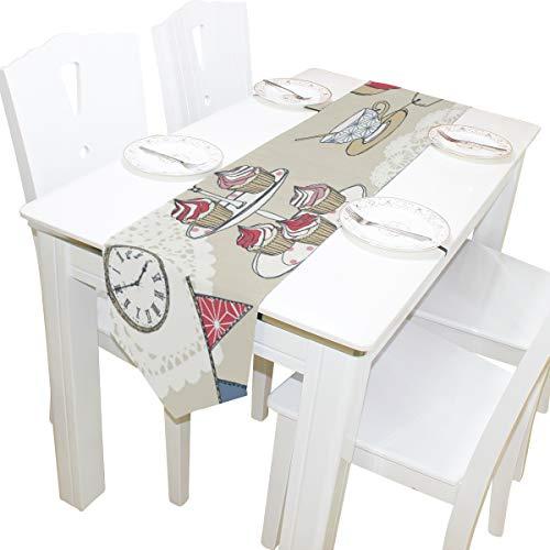DJROWW Tischläufer für Teeparty Alice im Wunderland für Zuhause, Dekoration, Couchtisch, 33 x 178 cm, Polyester, Polyester, Chic01, 13x70(in)