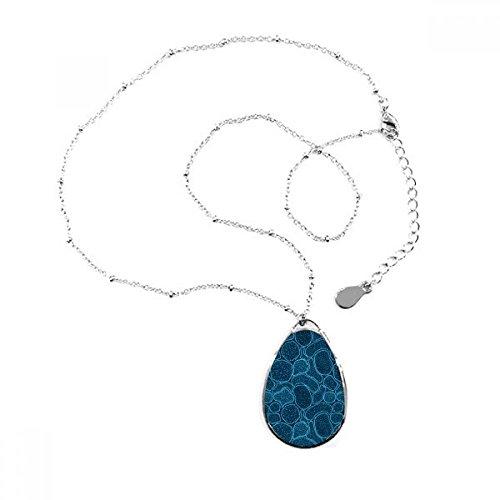 DIYthinker Blau-Mikroskop Zellen Struktur Biological Illustration Teardrop-Form-Anhänger Halskette Schmuck mit Kette Dekoration Geschenk