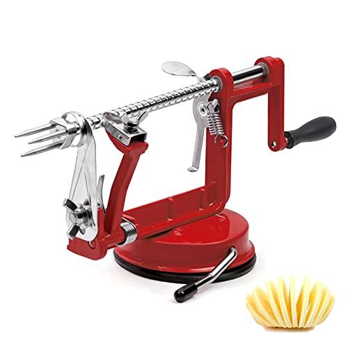 Apple Peeler, Stainless Steel Apple Corer Slicer Peeler, Durable Heavy Duty Die Cast Iron Apple Peeler Slicer Corer with Suction Base(Deepred)