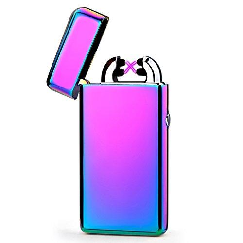 Emsmil USB Mechero Electrico Encendedor Lighter Antiviento Electronico Recargable Doble Arco sin Llama para Cigarrillos Metal Clasico de Hombre Arco Iris