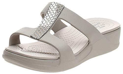Crocs Monterey Metallic Wedge, Sandali a Punta Aperta Donna, Argento (Silver/Platinum 0go), 38/39 EU