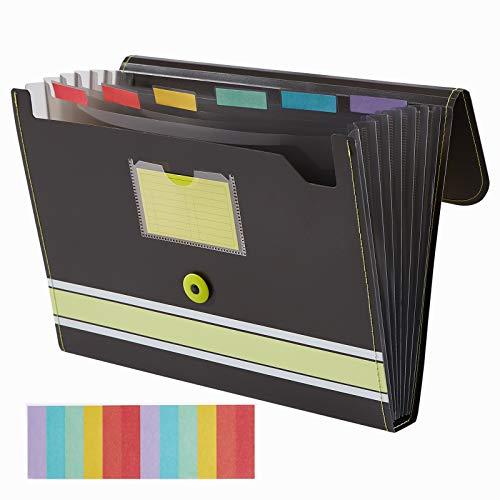 Sooez Expanding File Folder Paper Organizer with Sticky Labels, 7 Pockets File Organizer Accordion File Organizer, Letter/A4 Paper/Document Folder Organizer, File Organizer File Holder, Lime Green
