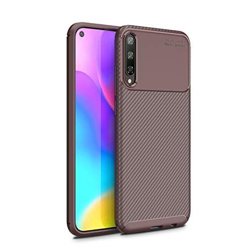ZHANGYOUDE Para Huawei Honor Jugar 3 de Fibra de Carbono Textura Caso de TPU Prueba de Golpes (Color : Brown)