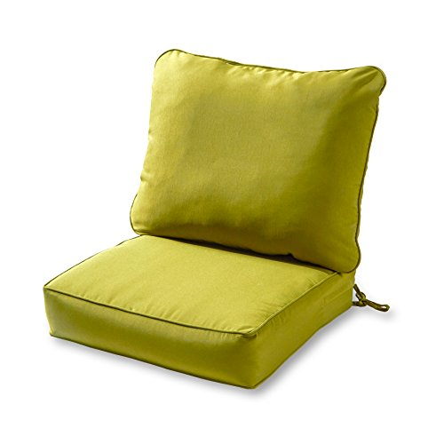 Greendale Home Fashions AZ7820-KIWI Lime Outdoor 2-Piece Deep Seat Cushion Set