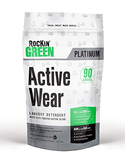 Rockin' Green Active Wear Laundry Detergent 45oz (90 Loads) | All-Natural, Non-Toxic, and Safe for Sensitive Skin | Vegan and Biodegradable | Odor Removing Soap for Gym Workout Clothes & Sports Wear