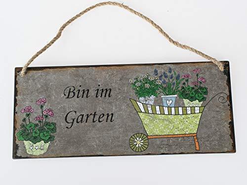 Unbekannt Metall Schild Nostalgie Bin im Garten 30x13cm zum Hängen mit Schubkarre