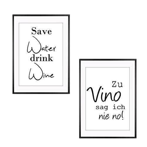 4 Stück Set - Poster Bild DIN A4 - Zu Vino sag ich nie no - Die Geschenkidee für Weinliebhaber - Plakat Spruch lustiges Wein Geschenk Wine Sprüche Typografie schwarz weiß Küche Wohnzimmer Deko