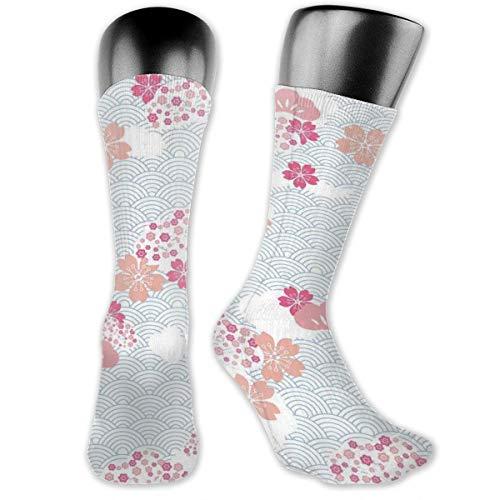 Preisvergleich Produktbild vnsukdlfg Compression Medium Calf Socks, Squama Pattern With Cherry Blossom Land Of The Rising Sun Pattern