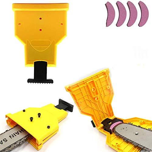 Schärfgerät für Motorsägen, Kettenschärfgerät mit 5 Schleifsteinen zum Schärfen von Kettensägen, rot