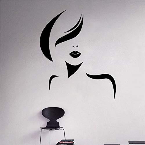 Salon de beauté femme Spa cheveux styliste autocollants filles salon de coiffure Wall Decal coupe de cheveux amovible intérieur femme affiche bricolage