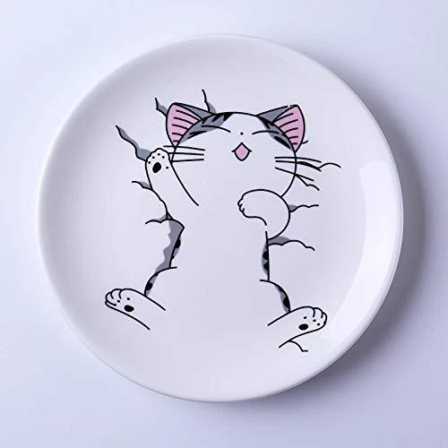 weichuang Plato de cerámica con diseño de gato de dibujos animados, plato blanco bonito para carne, sopa de arroz, hueso, vajilla de porcelana (color: A, tamaño del plato: 15,24 cm)