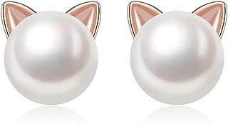 ME SURE Meow Cat Ear Stud Earrings Rose Gold Sterling Silver Freshwater Cultured Pearl Stud Earrings