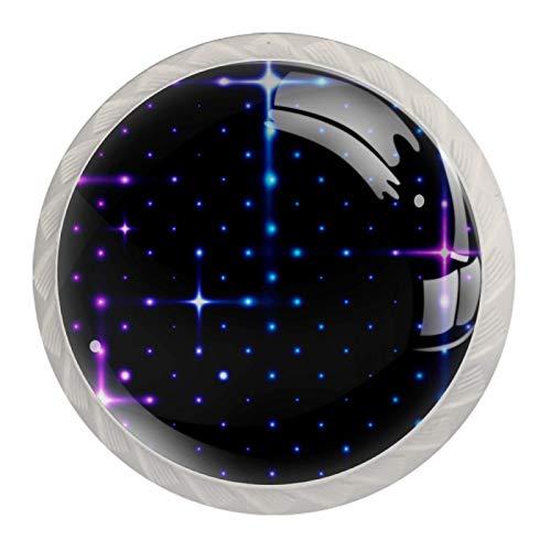 Perillas de puerta Perilla de gabinete de moda Decoración de cocina hecha a mano Perilla de armario Juego de tocador de puerta de 4 piezas Starlight violeta azul 3.5×2.8CM