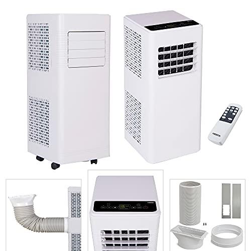 Arebos Climatizzatore mobile 4 in 1 | 7.000 Btu/h | 2 velocità | Condizionatore d'aria purificatore d'aria, ventilatore con telecomando, refrigeratore d'aria, deumidificatore | modalità notte | Bianco
