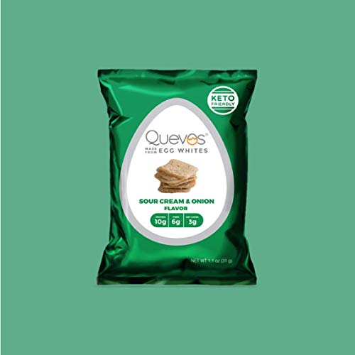 Quevos Keto Friendly Egg White Chips + Protein & Fiber - Gluten Free, Soy Free, Lactose Free - 12 Pack...
