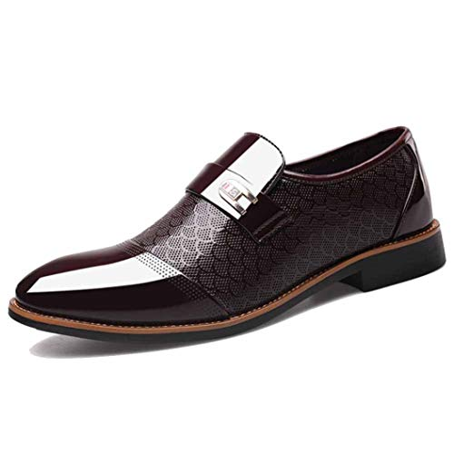 Business Dress Men's Work Shoes Classic Leather Bright Suits Formal Shoes Fashion Slip On Low Top Shoes Oxfords City Shoes