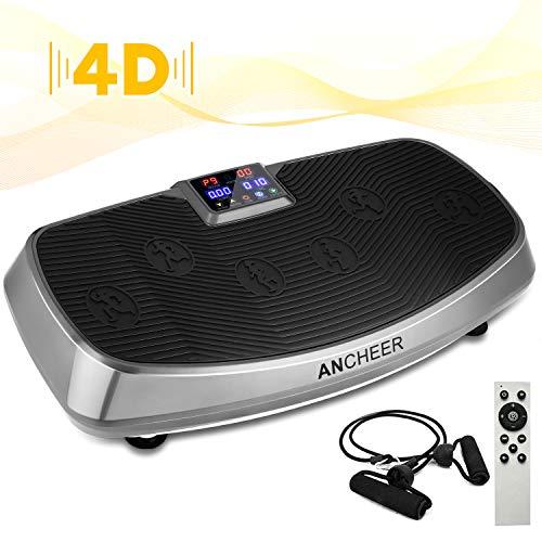 ANCHEER 4D Fitness Vibrationsplatte mit 2 Motoren, Profi Ganzkörper Training Vibrationsboard Shaper mit Slim Design, Mehrere Modi&Geschwindigkeiten, Fernbedienung, Trainingsbänder, Belastbar bis 150kg