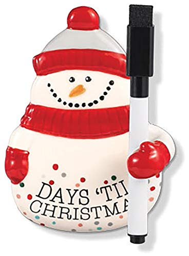 Stephanie Imports Ceramic Snowman Christmas Countdown Magnet Plaque with Black Marker (4.5' X 3.4')