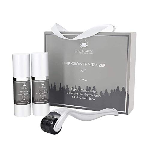 ZUSTBEAUTY   Hair Growth Derma Roller Microneedling Kit for Scalp, Face & Beard   0.3MM Microneedle Roller   Microdermabrasion 540 Titanium Micro Needles   Includes Hair Growth Spray & Serum