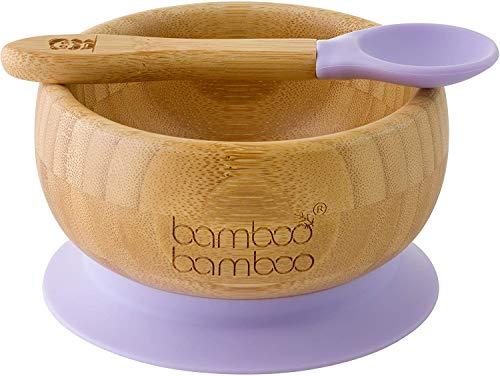 Baby Saugnapf-Schüssel mit passendem Löffelset, Standfeste Saug-Fütter-Schüssel, aus naturbelassenem Bambus