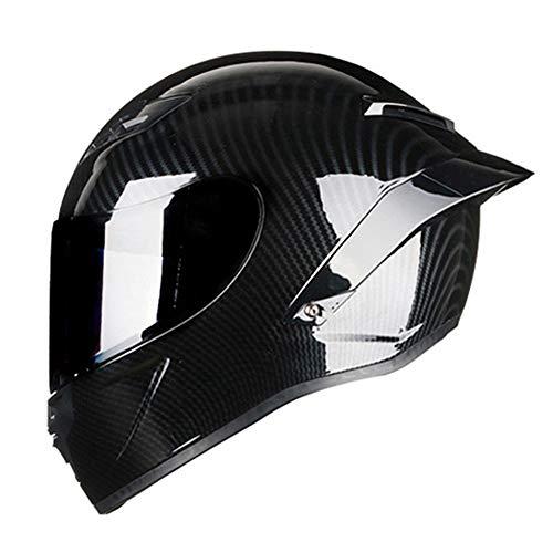 Woljay Vollgesicht Integralhelm Motorradhelm Unisex-Adult Offroad Moto Street Bike ATV Helme Glas Schwarz DOT Approved (Smoke,M)