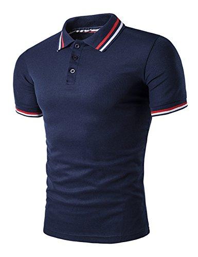 Legou Homme Polos T-Shirt de Sport pour Golf Bleu Marin Medium