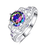 Psiroy 925 Sterling Silver Created Rainbow Topaz Filled Solitaire Wedding Ring for Women Size 8