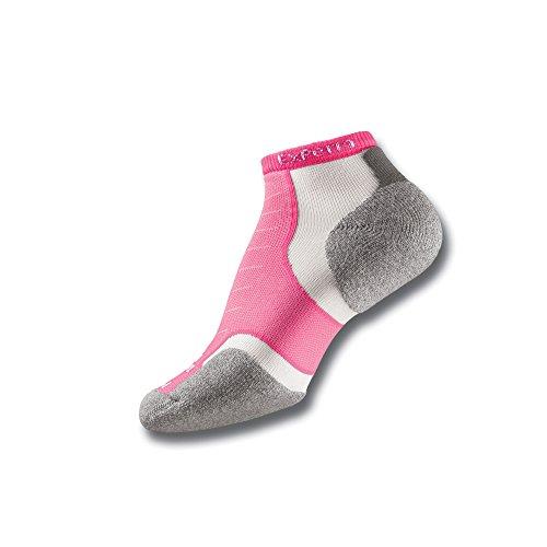 Thorlos Experia XCCU Thin Cushion Running Low Cut Socks, Pink, Small