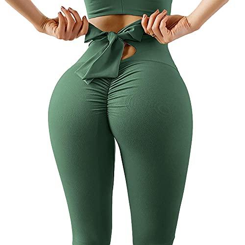 YYMY Gimnasio Mujer Jogging Correr Yoga,Pantalones elásticos de Cintura Alta, Pantalones de Vendaje con Lazo Pantalones de Yoga con Levantamiento de Cadera-H Tight_S